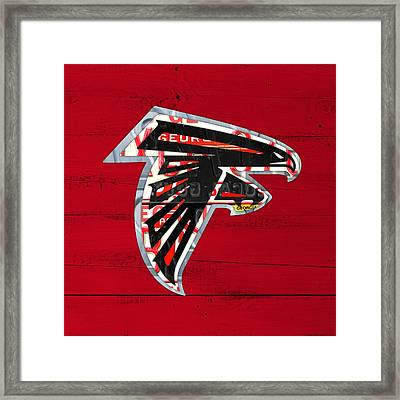 Atlanta Falcons Football Team Retro Logo Georgia License Plate Art Framed Print by Design Turnpike