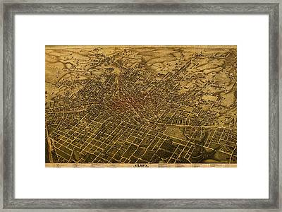 Atlanta Georgia City Schematic Street Map 1892 On Recovered Worn Parchment Paper Framed Print