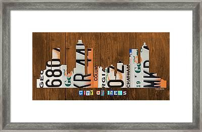 Atlanta Georgia City Skyline Vintage License Plate Art On Wood Framed Print by Design Turnpike