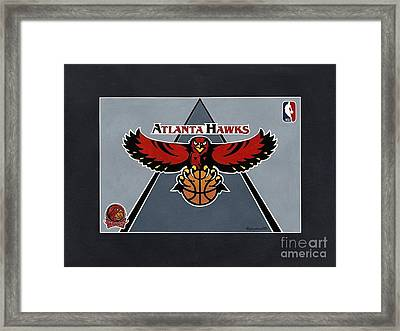 Atlanta Hawks T-shirt Framed Print by Herb Strobino