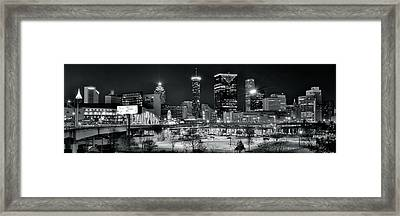 Atlanta Panoramic Black And White Framed Print