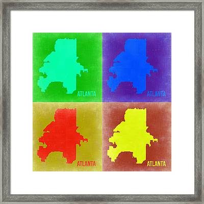 Atlanta Pop Art Map 2 Framed Print