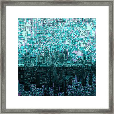 Atlanta Skyline Abstract 2 Framed Print