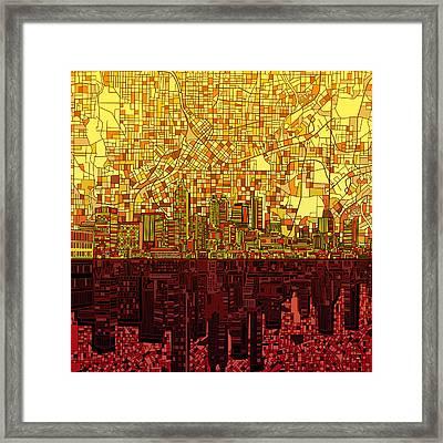 Atlanta Skyline Abstract 3 Framed Print