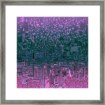 Atlanta Skyline Abstract 5 Framed Print