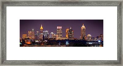 Atlanta Skyline At Night Downtown Midtown Color Panorama Framed Print by Jon Holiday