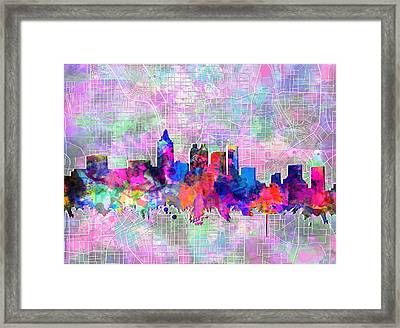 Atlanta Skyline Watercolor 4 Framed Print