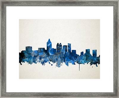 Atlanta Skyline Watercolor Blue Framed Print