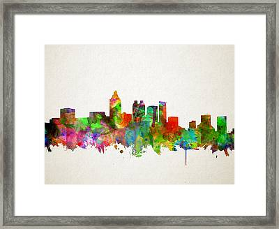 Atlanta Skyline Watercolor Framed Print