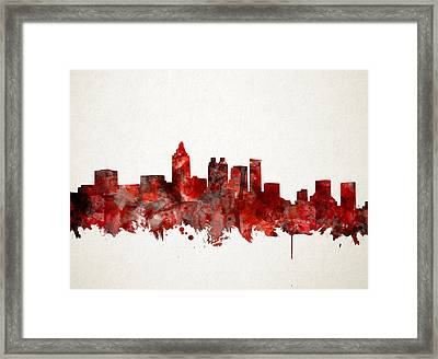 Atlanta Skyline Watercolor Red Framed Print