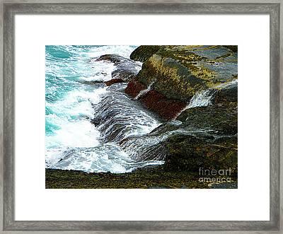 Atlantic Blue On The Rocks Framed Print by Lorraine Heath