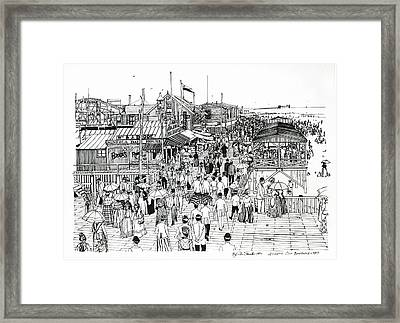 Framed Print featuring the drawing Atlantic City Boardwalk 1890 by Ira Shander