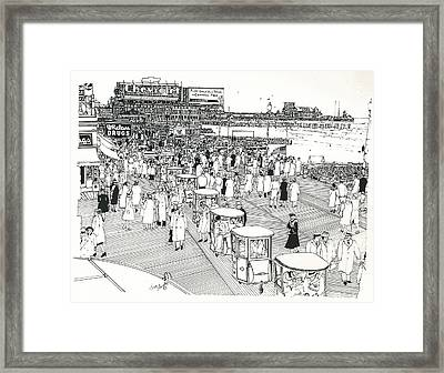 Framed Print featuring the drawing Atlantic City Boardwalk 1940 by Ira Shander