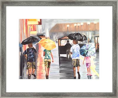 Atlantic City Boardwalk Rain Framed Print