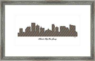 Atlantic City New Jersey 3d Stone Wall Skyline Framed Print