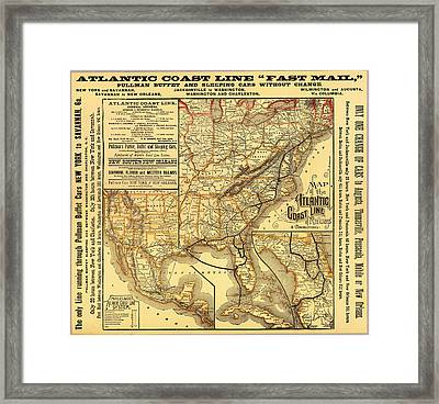 Atlantic Coast Line Railway Map 1885 Framed Print by Mountain Dreams