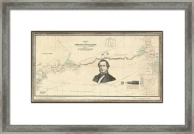Atlantic Telegraph And Cyrus Field Framed Print by Library Of Congress, Geography And Map Division