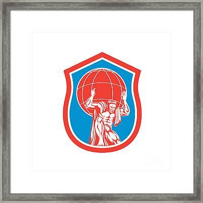 Atlas Carrying Globe On Shoulder Front Shield Retro Framed Print by Aloysius Patrimonio
