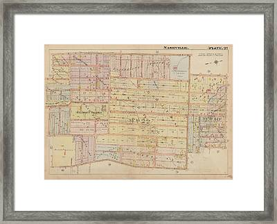 Atlas Of The City Of Nashville Tennessee Belmont Neighborhood 1908 Plate 27a Framed Print by Cody Cookston