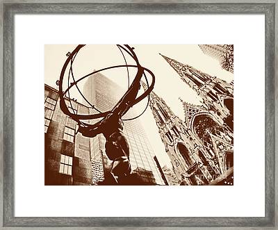 Atlas Statue And St.patrick's Cathedral In Black And White Framed Print