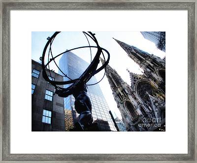 Atlas Statue And St.patrick's Cathedral In Color Framed Print by Nishanth Gopinathan
