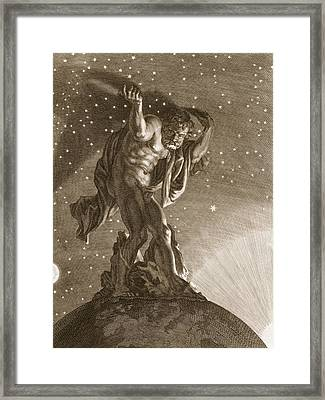 Atlas Supports The Heavens Framed Print by Bernard Picart