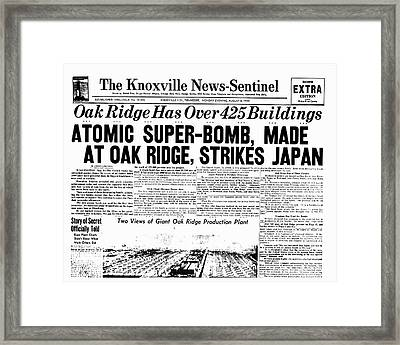 Atomic Bomb Newspaper Front Page Framed Print by Us Department Of Energy