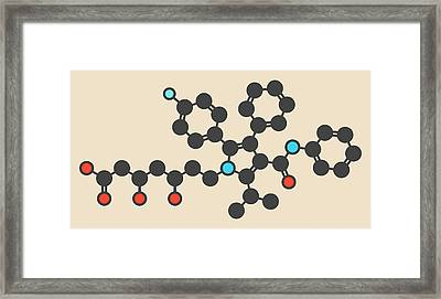 Atorvastatin Cholesterol Drug Molecule Framed Print