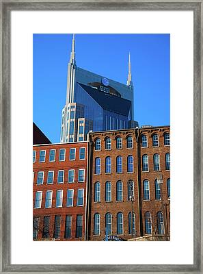 At&t Building And Historic Red Brick Framed Print