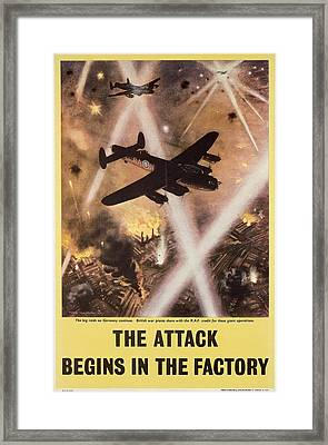 Attack Begins In Factory Propaganda Poster From World War II Framed Print by Anonymous
