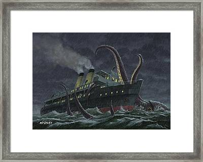 Attack Of Giant Squid Framed Print by Martin Davey