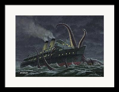 Sea Monster Mythology Framed Prints