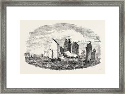 Attack On A Chinese Piratical Fleet By The Boats Of H Framed Print by Chinese School