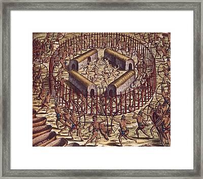 Attack On A Village By Tuppinjkinsij Framed Print by Everett