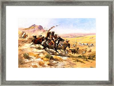 Attack On A Wagon Train Framed Print by Charles Russell