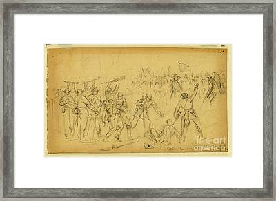 Attack On The Rear Guard. Amelia Ct. Ho. Framed Print by Celestial Images