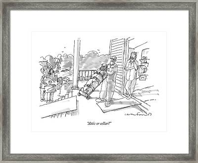 Attic Or Cellar? Framed Print by Michael Crawford
