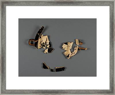 Attic White-ground Cup Lipped Inside Fragment With Dionysos Framed Print by Litz Collection
