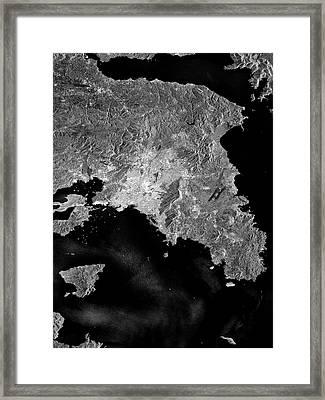 Attica Peninsula Framed Print by European Space Agency