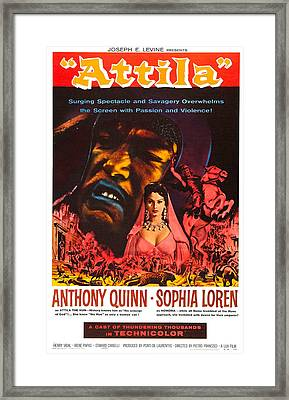 Attila, Us Poster, From Left Anthony Framed Print by Everett