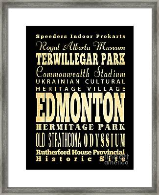 Attraction And Famous Places Of  Edmonton Canada Framed Print by Joy House Studio