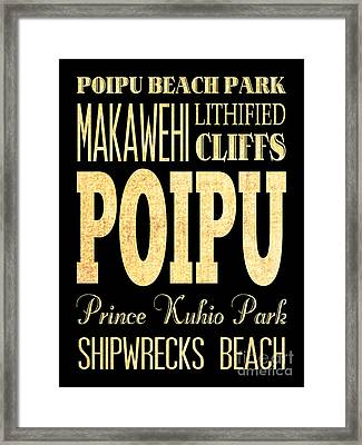 Attraction And Famous Places Of Poipu Hawaii Framed Print by Joy House Studio
