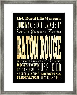 Attractions And Famous Places Of Baton Rouge Louisiana Framed Print by Joy House Studio
