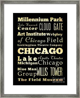 Attractions And Famous Places Of Chicago Illinois Framed Print by Joy House Studio