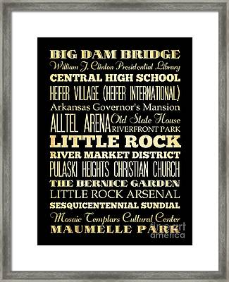 Attractions And Famous Places Of Little Rock Arkansas Framed Print
