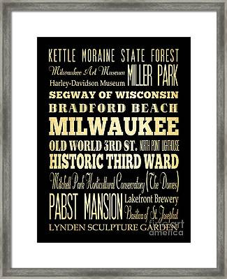 Attractions And Famous Places Of Milwaukee Wisconsin Framed Print by Joy House Studio
