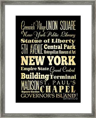 Attractions And Famous Places Of New York New York Framed Print