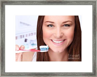Attractive Female Clean Teeth Framed Print