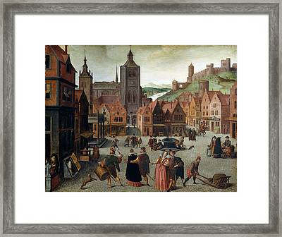 Attributed To Abel Grimmer, The Marketplace In Bergen Op Framed Print by Litz Collection