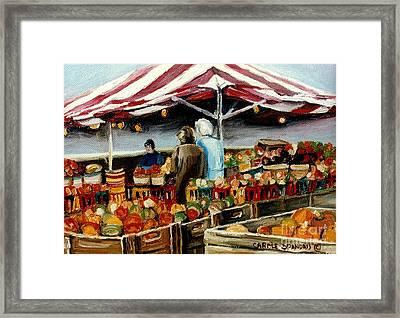 Atwater Market Montreal Street Scene Framed Print by Carole Spandau